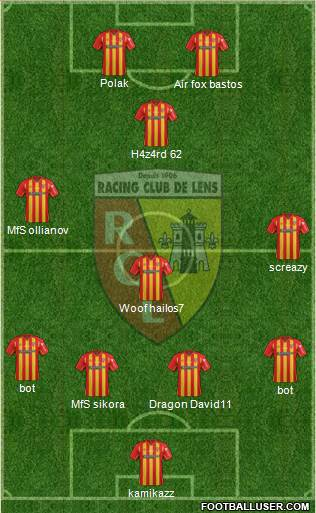 Racing Club de Lens 4-4-2 football formation