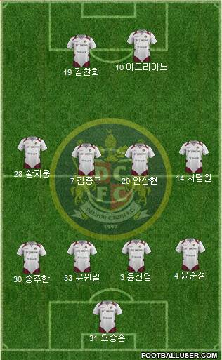 Daejeon Citizen 4-4-2 football formation