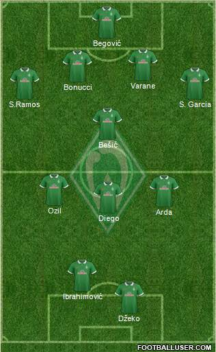 Werder Bremen 4-1-3-2 football formation