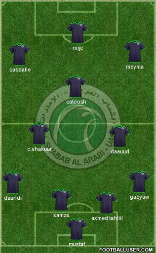 Al-Shabab (UAE) 4-2-4 football formation