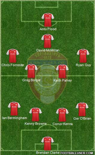 St. Patrick's Athletic 4-1-3-2 football formation