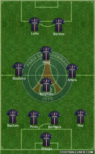 Paris Saint-Germain 4-3-1-2 football formation