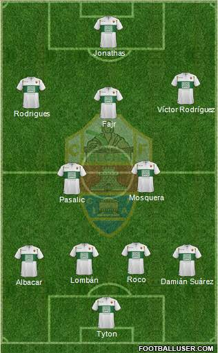 Elche C.F., S.A.D. 3-5-1-1 football formation