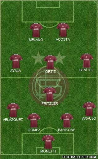 Lanús 4-1-3-2 football formation