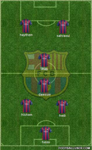 F.C. Barcelona 4-1-4-1 football formation