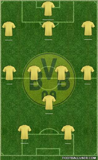 Borussia Dortmund 3-4-1-2 football formation
