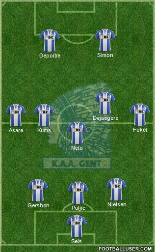 KAA Gent 3-5-2 football formation