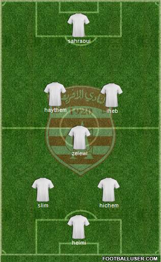 Club Africain Tunis 5-3-2 football formation