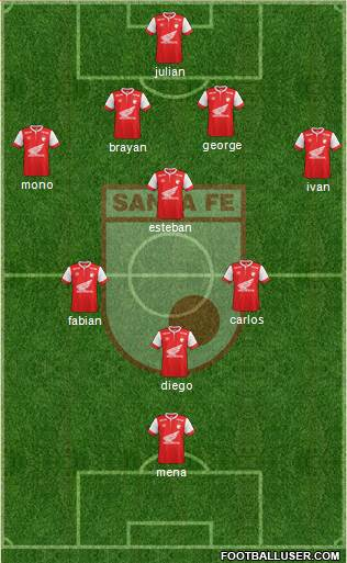 Santa Fe CD 4-3-3 football formation