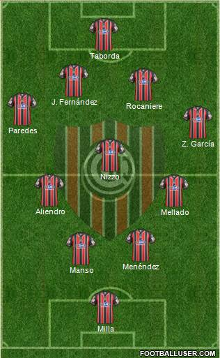 Chacarita Juniors 4-3-2-1 football formation