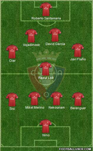 C. At. Osasuna 4-1-4-1 football formation