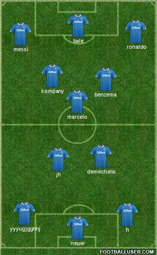 Rangers 3-4-3 football formation