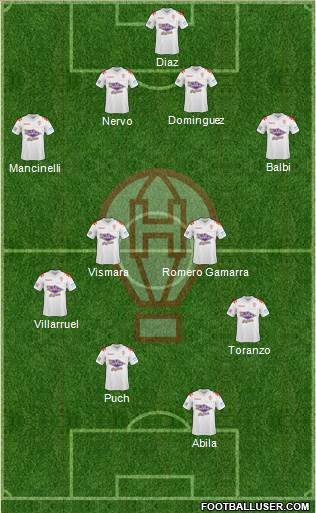 Huracán 4-4-1-1 football formation