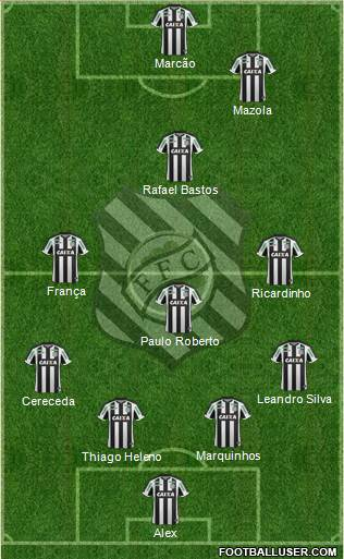 Figueirense FC 4-3-2-1 football formation