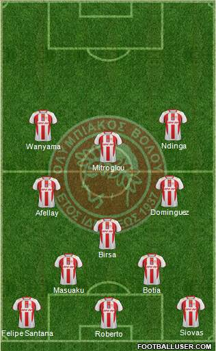 ASK Olympiakos Volou 4-1-2-3 football formation