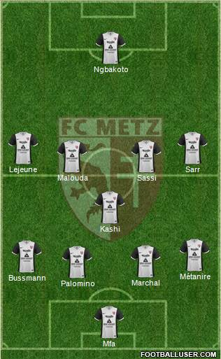 Football Club de Metz 4-1-4-1 football formation