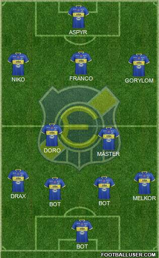 CD Everton de Viña del Mar S.A.D.P. 4-2-1-3 football formation