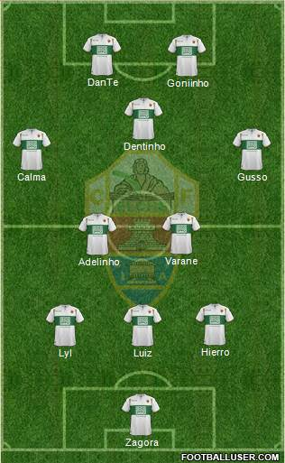 Elche C.F., S.A.D. 3-5-2 football formation