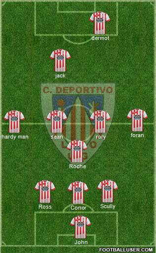 C.D. Lugo 3-4-3 football formation