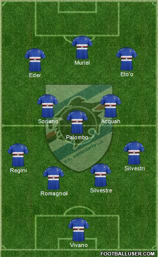 Sampdoria 4-5-1 football formation