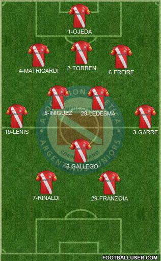 Argentinos Juniors 3-5-1-1 football formation