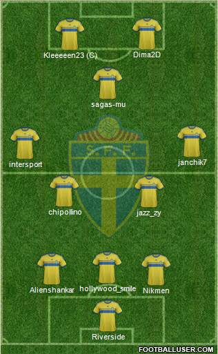 Sweden 3-5-2 football formation