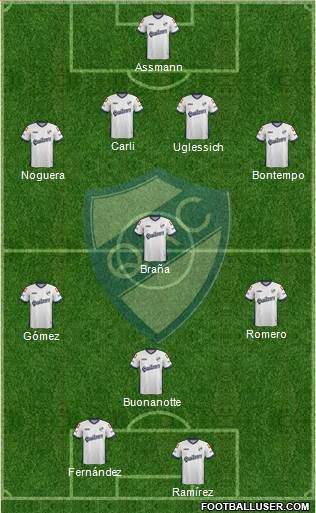 Quilmes 4-3-1-2 football formation