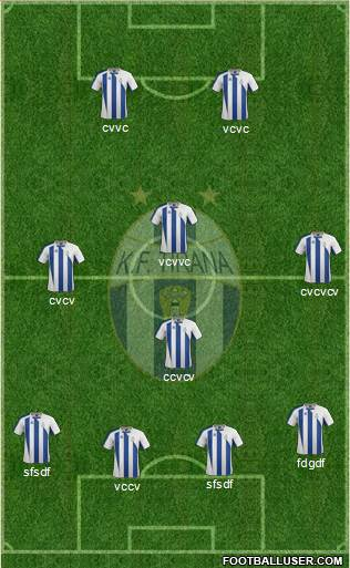 KF Tirana 4-1-3-2 football formation