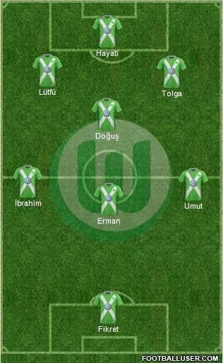 VfL Wolfsburg 4-3-1-2 football formation