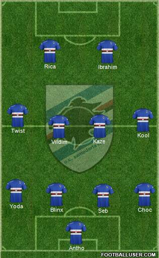 Sampdoria 4-4-2 football formation