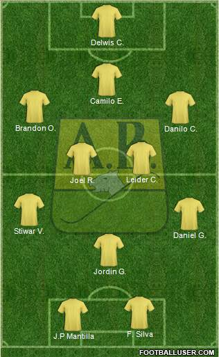 CA Bucaramanga CD 3-4-1-2 football formation