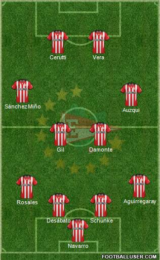 Estudiantes de La Plata 4-2-2-2 football formation
