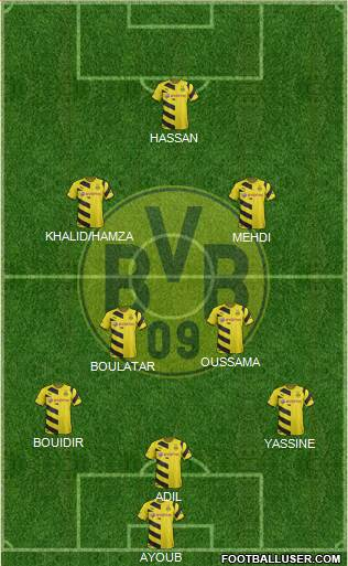 Borussia Dortmund 3-4-2-1 football formation