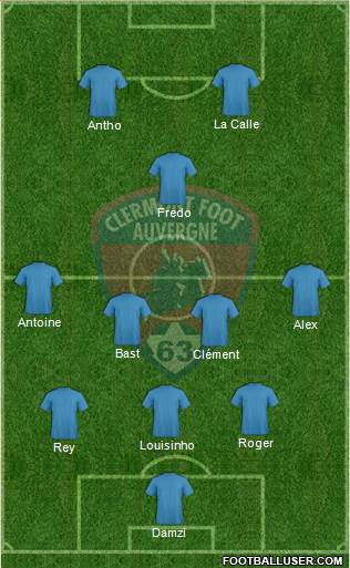 Clermont Foot Auvergne 63 3-4-1-2 football formation