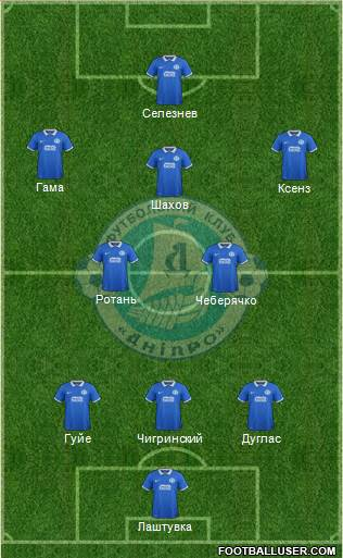 Dnipro Dnipropetrovsk 5-4-1 football formation