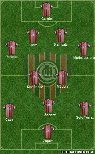 Chacarita Juniors 4-2-3-1 football formation