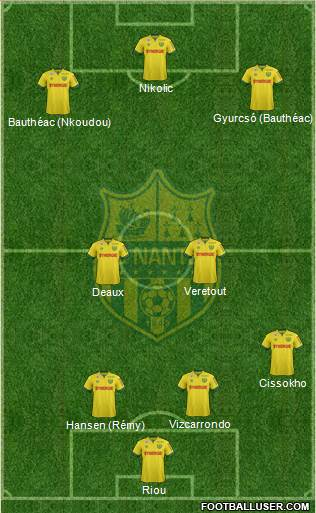 FC Nantes 4-1-3-2 football formation