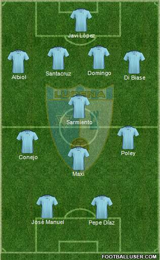 Lucena C.F. 4-4-2 football formation