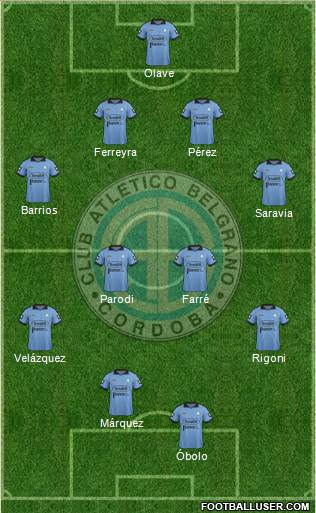 Belgrano de Córdoba 3-5-1-1 football formation