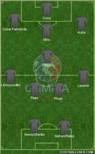 CD Olimpia 3-5-2 football formation