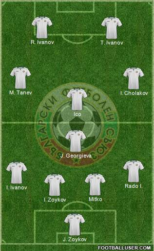 Bulgaria 4-1-3-2 football formation