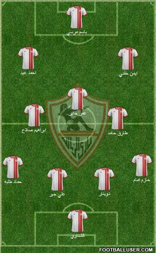 Zamalek Sporting Club 4-3-2-1 football formation