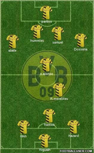 Borussia Dortmund 4-1-2-3 football formation