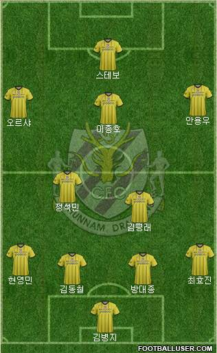 Chunnam Dragons 4-3-3 football formation