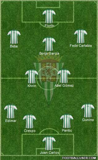Córdoba C.F., S.A.D. 4-2-3-1 football formation