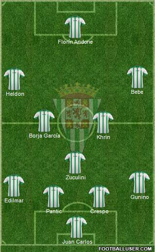 Córdoba C.F., S.A.D. 4-1-4-1 football formation