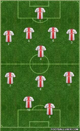 Stevenage Borough 4-1-3-2 football formation