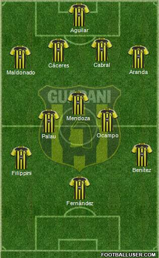 C Guaraní 4-5-1 football formation