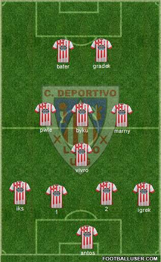 C.D. Lugo 4-1-3-2 football formation