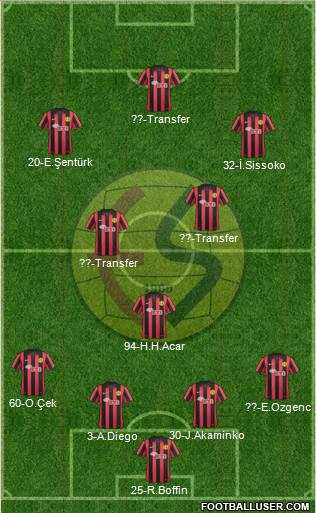 Eskisehirspor 5-4-1 football formation